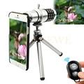 2017 12x zoom telescopio teleobjetivo lentes de cámara del teléfono para iphone 4 4s 5 5S 6 6 s 7 plus samsung note 2 3 4 5 casos trípode