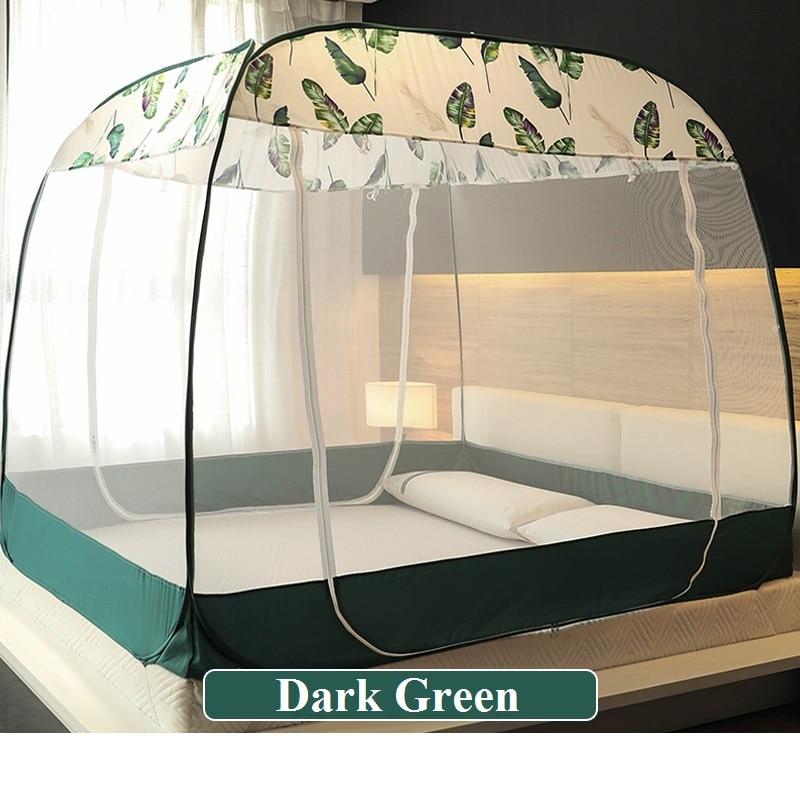 Belle moustiquaire mongole verte moustiquaire lit Portable baldaquin trois portes Quadrate moustiquaire respirante été literie
