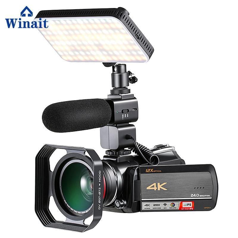 Winait WIFI Digital Video Macchina Fotografica UHD (4 k): 3840*2160 (DAR 24fps) con 3.0 ''TFT Display e 12x Zoom ottico Videocamera di alta qualità