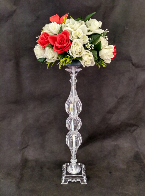 Silver Metal Candle Holders  Stand Flowers Vase Candlestick As Road Lead Candelabra Centre Pieces Wedding Decoration