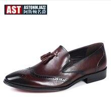 US 6-11 Mens Tassel Oxfords Pointed Toe Dress Shoes Business Man Wingtips Brogue Oxfords Genuine Leather Wedding Shoes цены онлайн