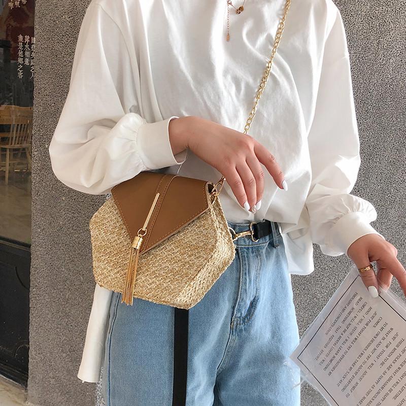 Hexagon Mulit Style Straw+leather Handbag Women Summer Rattan Bag Handmade Woven Beach Circle Bohemia Shoulder Bag New Fashion 16