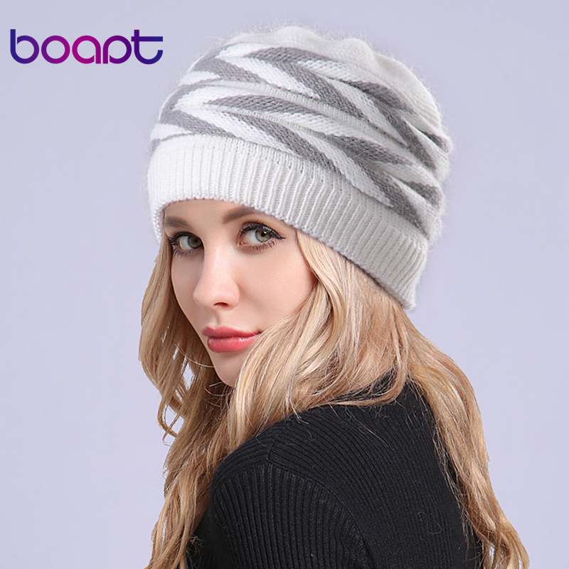 [boapt] Fold Soft Rabbit Double layer Knitted Thick Bonnet   Beanie   Caps Warm Winter Hat For Women's Hats Female   Skullies     Beanies