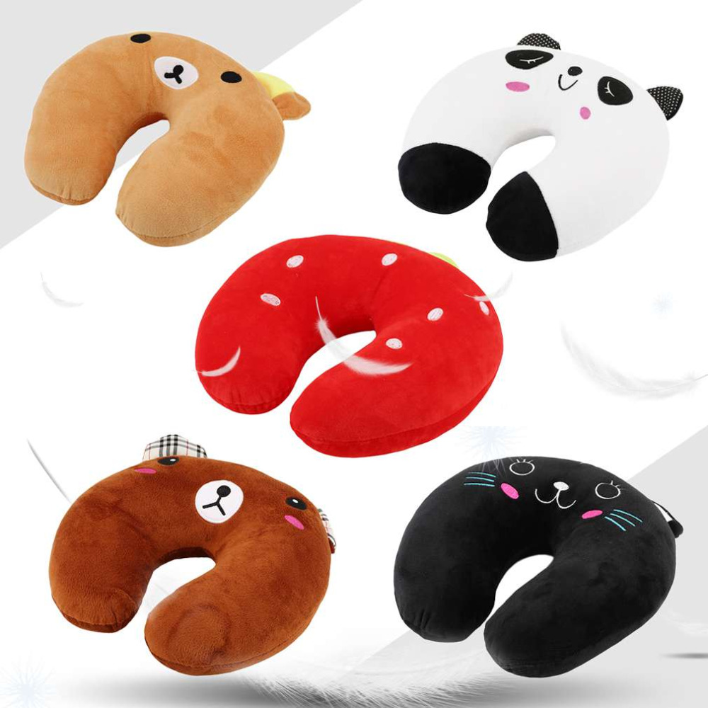New Safety Multi Color Cartoon Animals U Shape Neck Pillow Protecting Tour Cushions From Cotton Headrest Support Massage Pillow soft u shape cushion journey from watermelon kiwifruit orange fruit cushions tourism neck pillow autotravel pillows new hot