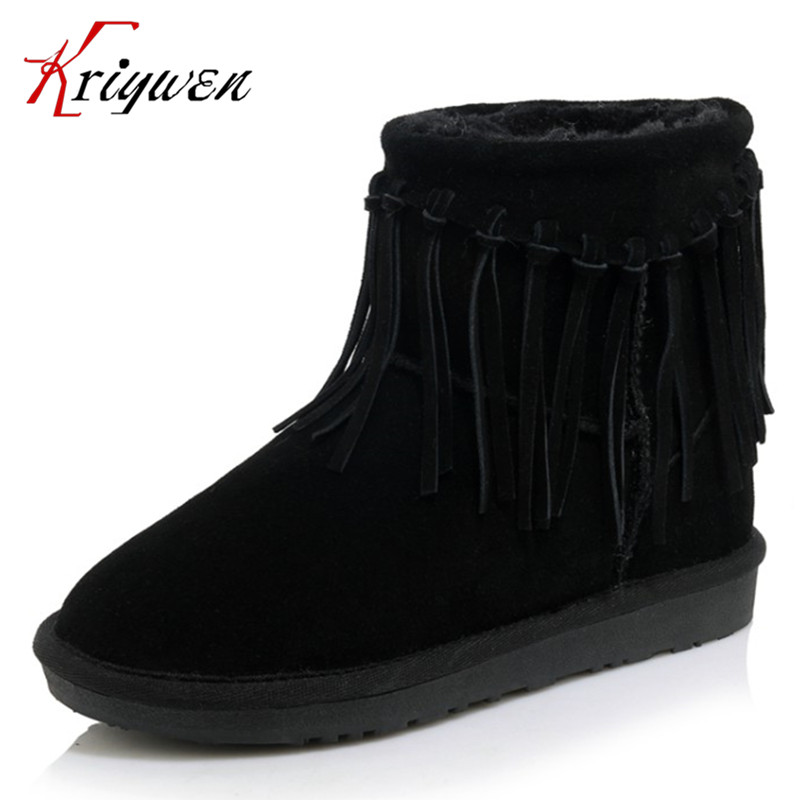 ФОТО Large size 34-43 New 2017 Women Winter Shoes Suede Ankle Boots flat Heels cow suede plush warm round toe retro tassel snow boots