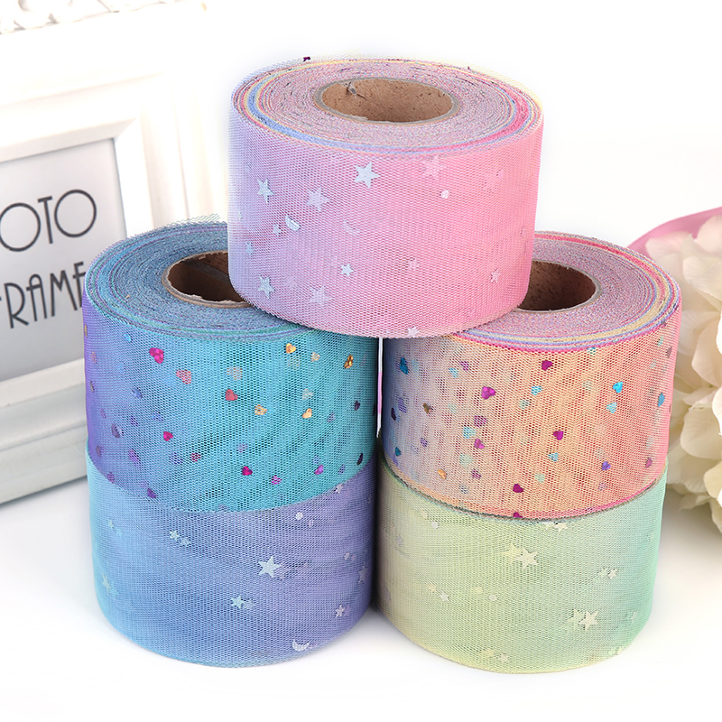 6cm 50yards lot DIY New Rainbow Sequins Mesh Yarn Stars The Moon Gradient Mesh Yarn Handmade Hair Accessory Material Supplies in Party DIY Decorations from Home Garden