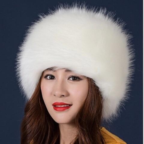 2018 Women Hats Lady Russian Tick Fluffy  Imitation Fox Fur Hat Headband Winter Earwarmer Ski Hat Female Hats For Autumn Winter Pakistan