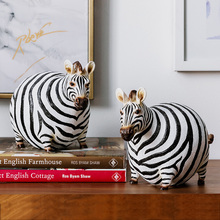 Creative Cute Obese Zebra Vintage Statue Home Decor Crafts Room Objects Wild Animals Office Resin Figurines Wedding Gifts
