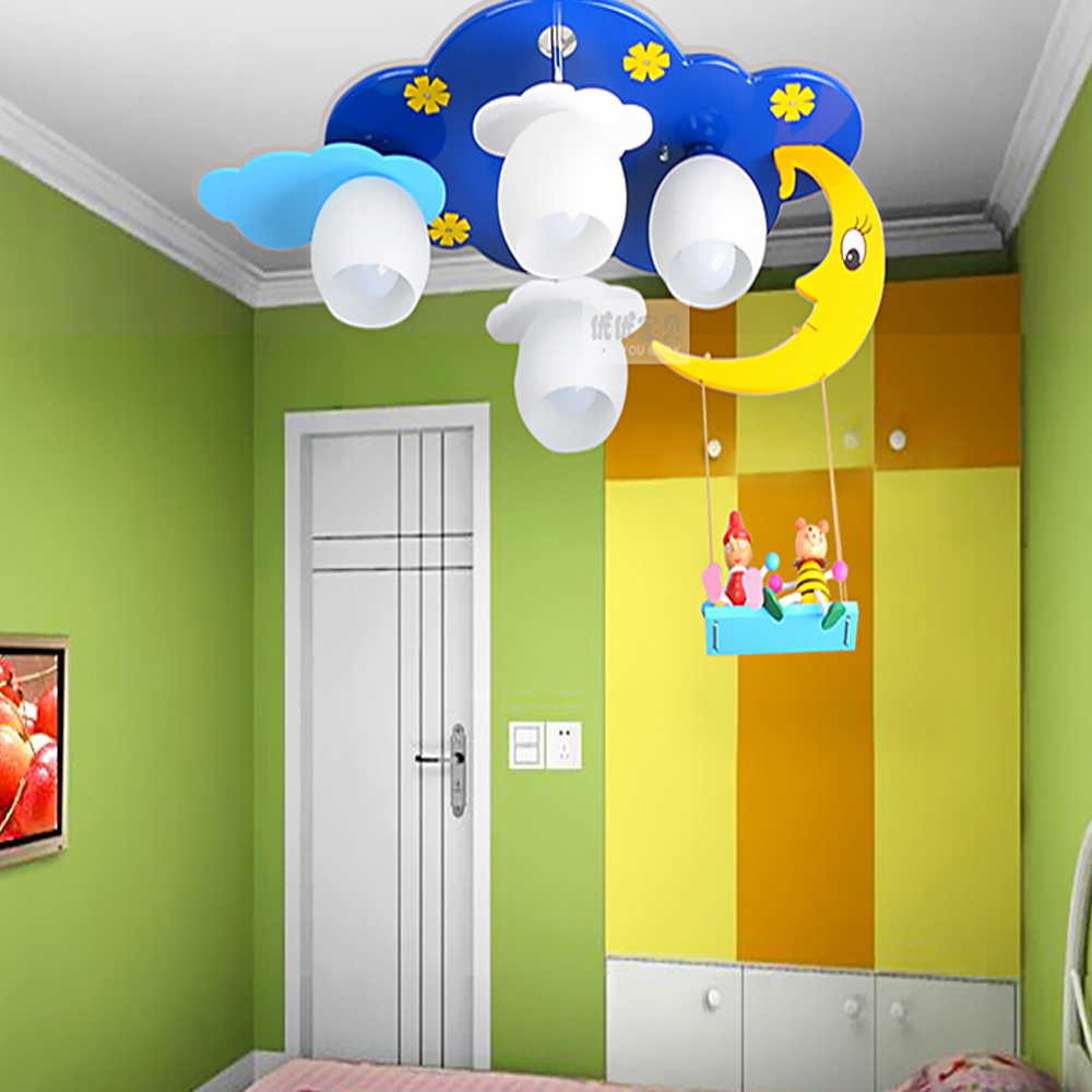 Kids bedroom ceiling lights - Wooden Moon And Stars 110v 220v E27 Led Kids Ceiling Light Lamp Bedroom Light Romantic