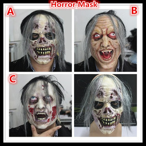 Free shipping High Quality Party Cosplay Scary Mask Halloween Toothy Zombie Bride With Grey Hair Horror Ghost Skull Blood Mask