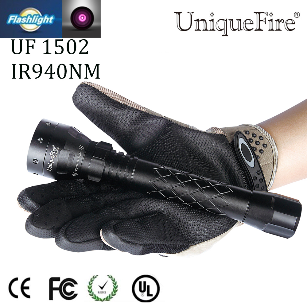 Uniquefire 3 Mode Zoomable Nightvision UF-1502 IR 940NM LED Flashlight Torch Waterproof For Outdoor Camping Free Shipping uniquefire t20 upgraded zoomable led flashlight ir 940nm 3 mode lamp light torch with scope mount waterproof for hunting camping