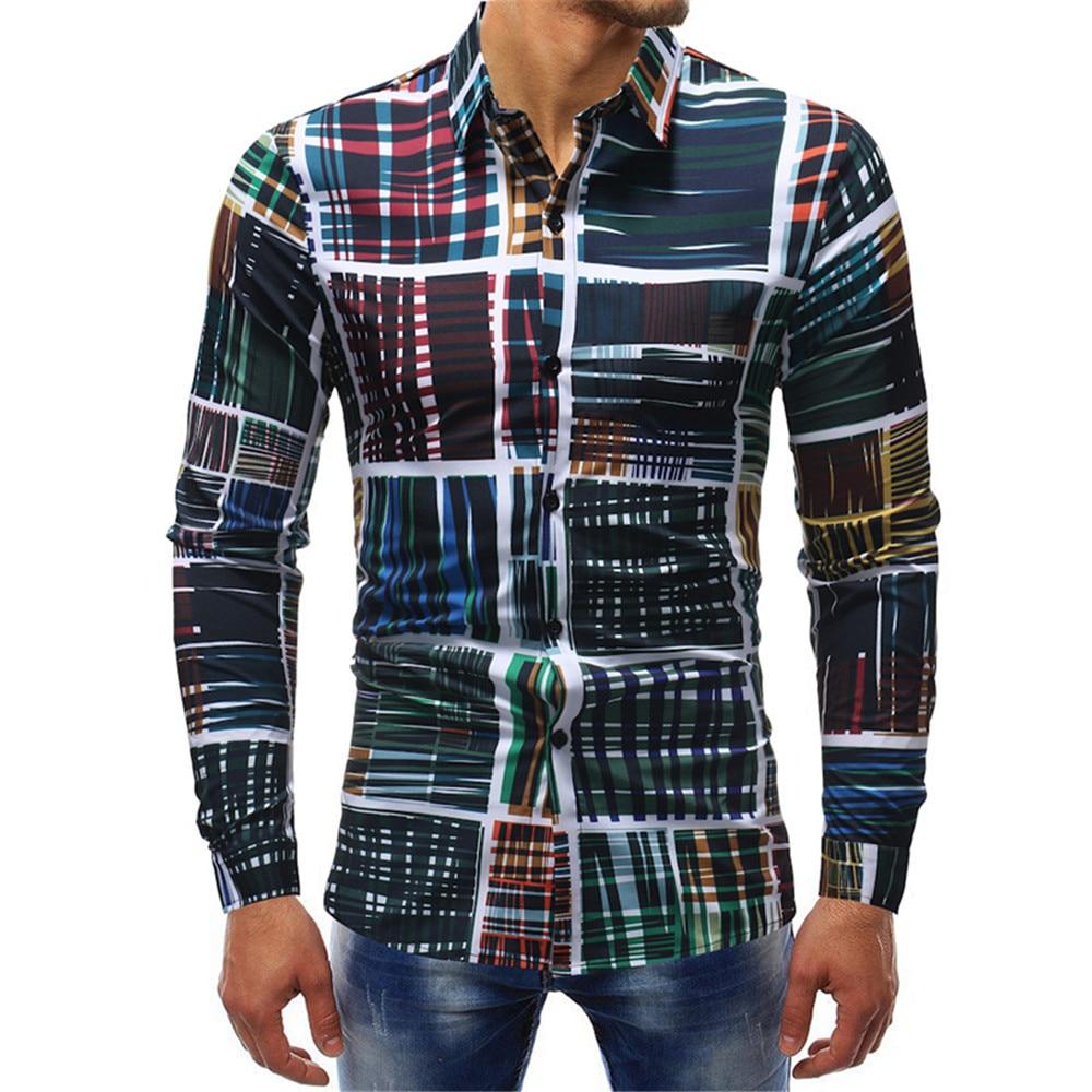 2018 Mens Fashion Long Sleeve Slim Fit Printed Casual Shirts Single