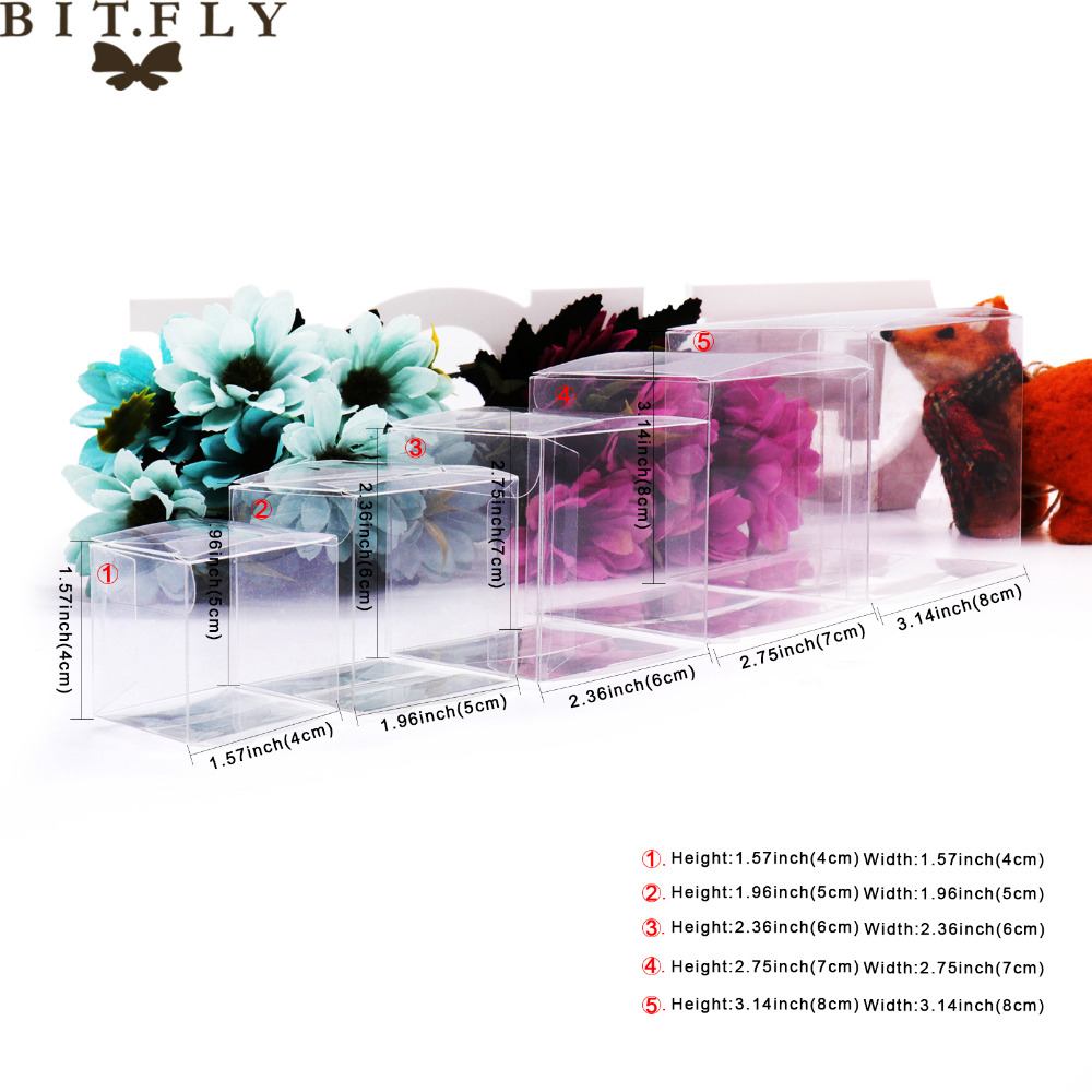 50pcs PVC Clear Transparent Candy Box Gifts Birthday Wedding Favor ...