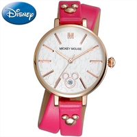 Mickey Mouse Cuties Girls Original Leather Band Woman Round High Quality Montre Femme Disney 11011 Watch Red Blue Time Cheap Tag