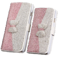 Luxury DIY Bling Rhinestone Bowknot PU Leather Flip Stand Wallet Phone Cases Cover For Samsung Galaxy