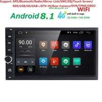 2 ГБ ОЗУ четырехъядерный Автомобильный Электронный Авторадио 2din android 8,1 автомобильный медиаплеер Стерео gps навигация wifi + Bluetooth + радио + 4G DAB +