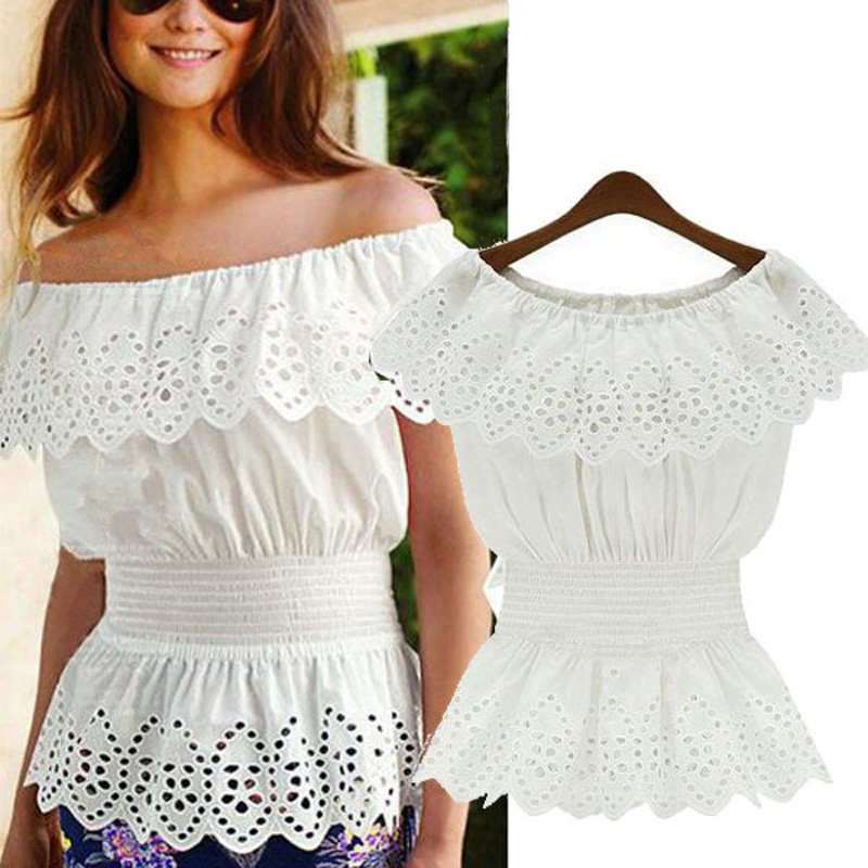 3a5afd7cf Celmia Women Sexy Off Shoulder Tunic Tops Lace Peplum Blouse 2019 Summer  Slash Neck Hollow Out