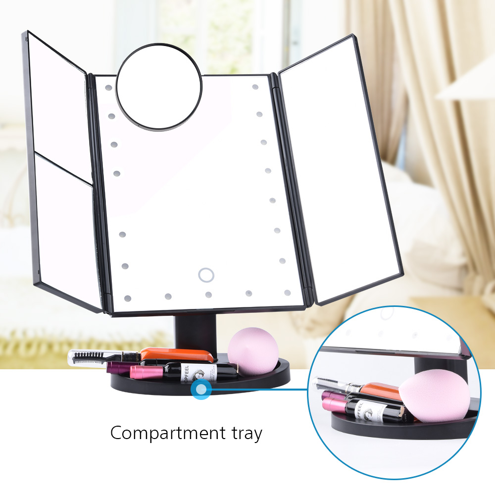 LED Touch Screen 22 Light Makeup Mirror Table Desktop Makeup 1X/2X/3X/10X Magnifying Mirrors Vanity 3 Folding Adjustable Mirror 4