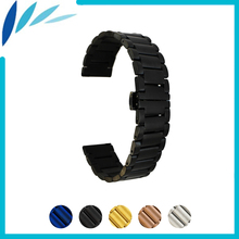 Stainless Steel Watch Band 16mm 20mm 22mm for Seiko Butterfly Buckle Strap Quick Release Wrist Belt Bracelet Black Gold Silver