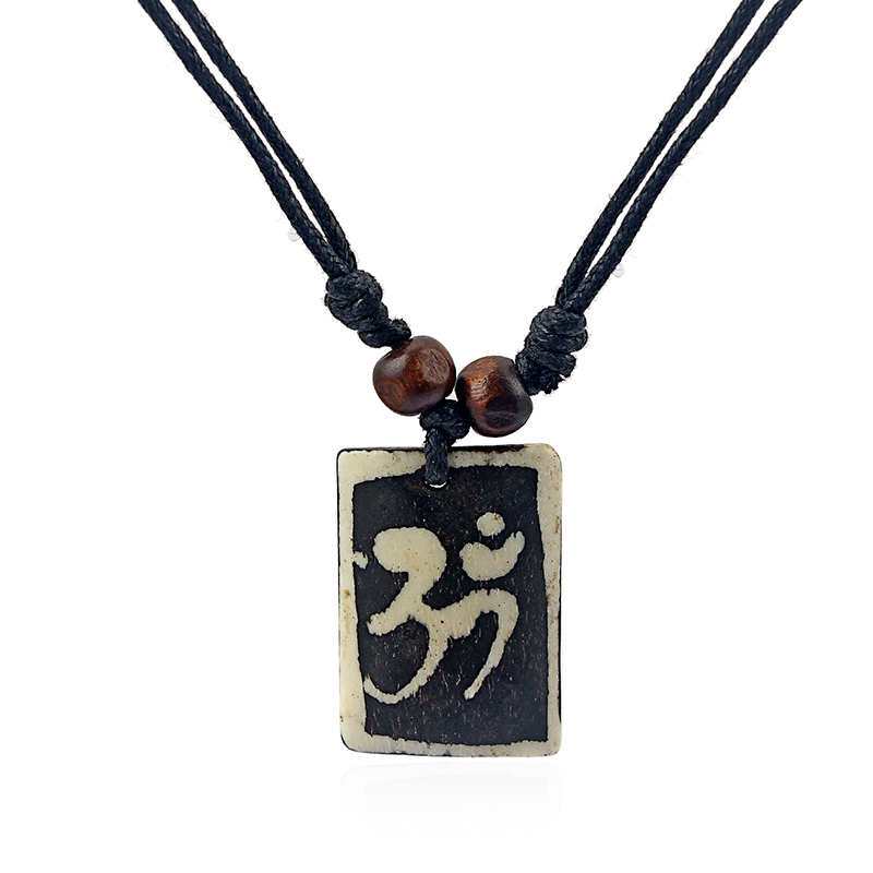 1pcs Real Tibet Yak Bone Carved OM OHM Necklace AUM Symbol Yoga Pendant Black Wax Cotton Cord 20*30mm