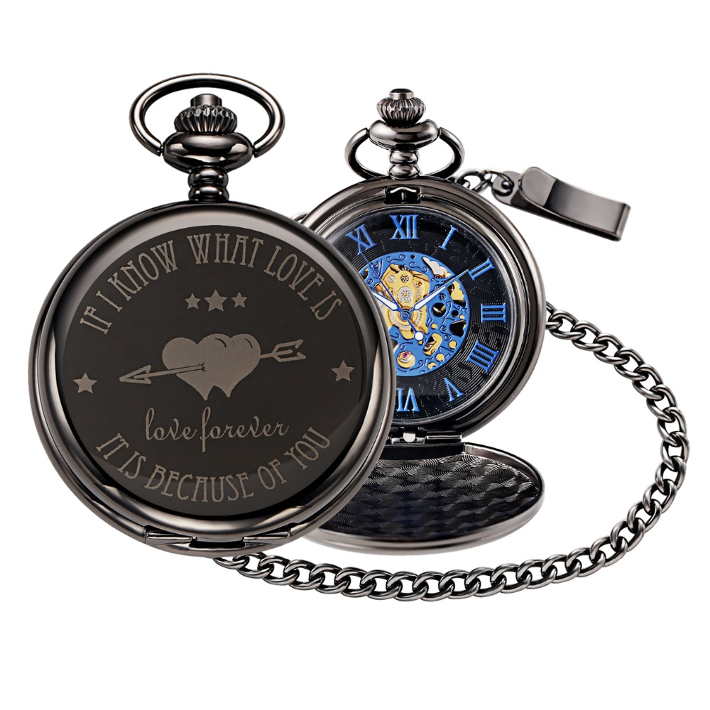 Love forever mechanical pocket watch