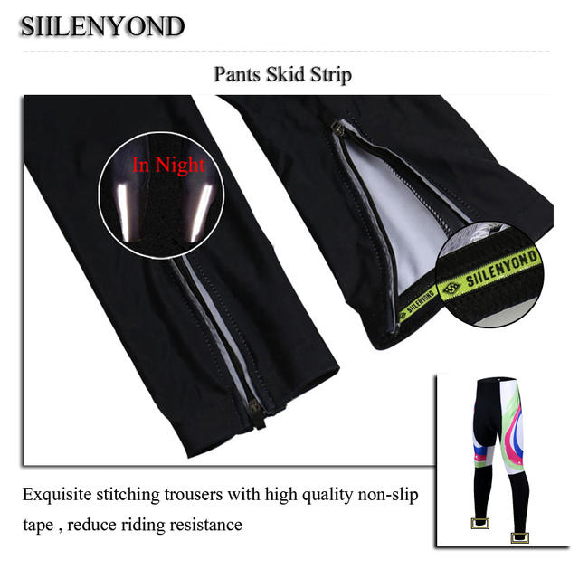 Siilenyond 2019 Women Winter 3D Gel Padded Cycling Pants Shockproof Mountain Bike Cycling Tight Racing Bicycle Cycling Trousers 5