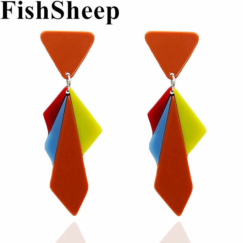 FishSheep Bohemian Resin Acrylic Geometric Long Drop Earrings For Women Ethnic Colorful Triangle Dangle Earrings Party Jewelry