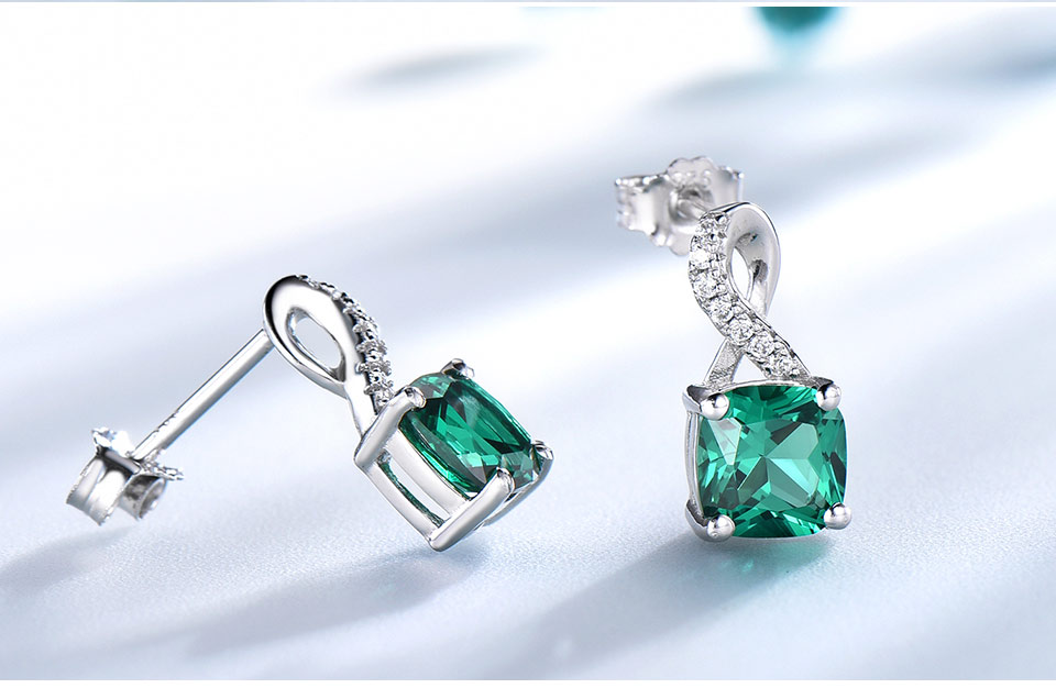 UMCHO Created Nano Emerald  925 sterling silver clip earrings for women EUJ091E-15