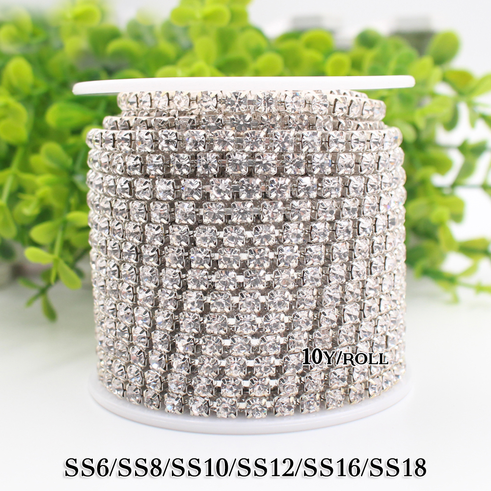 Hot sale 1M lot Transparent AB Rhinestone Chain Sew on Cup Chains for DIY Craft Silver Base Sewing Clothes Accessories in Rhinestones from Home Garden