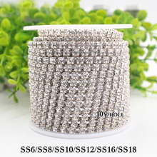 Hot sale 1M/lot Transparent AB Rhinestone Chain Sew on Cup Chains for DIY Craft Silver Base Sewing Clothes Accessories