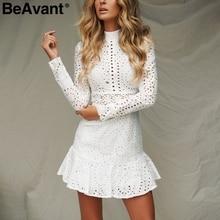 BeAvant Cotton embroidery white dress autumn 2018 Elegant long sleeve short dress winter Hollow out women dress vestidos female