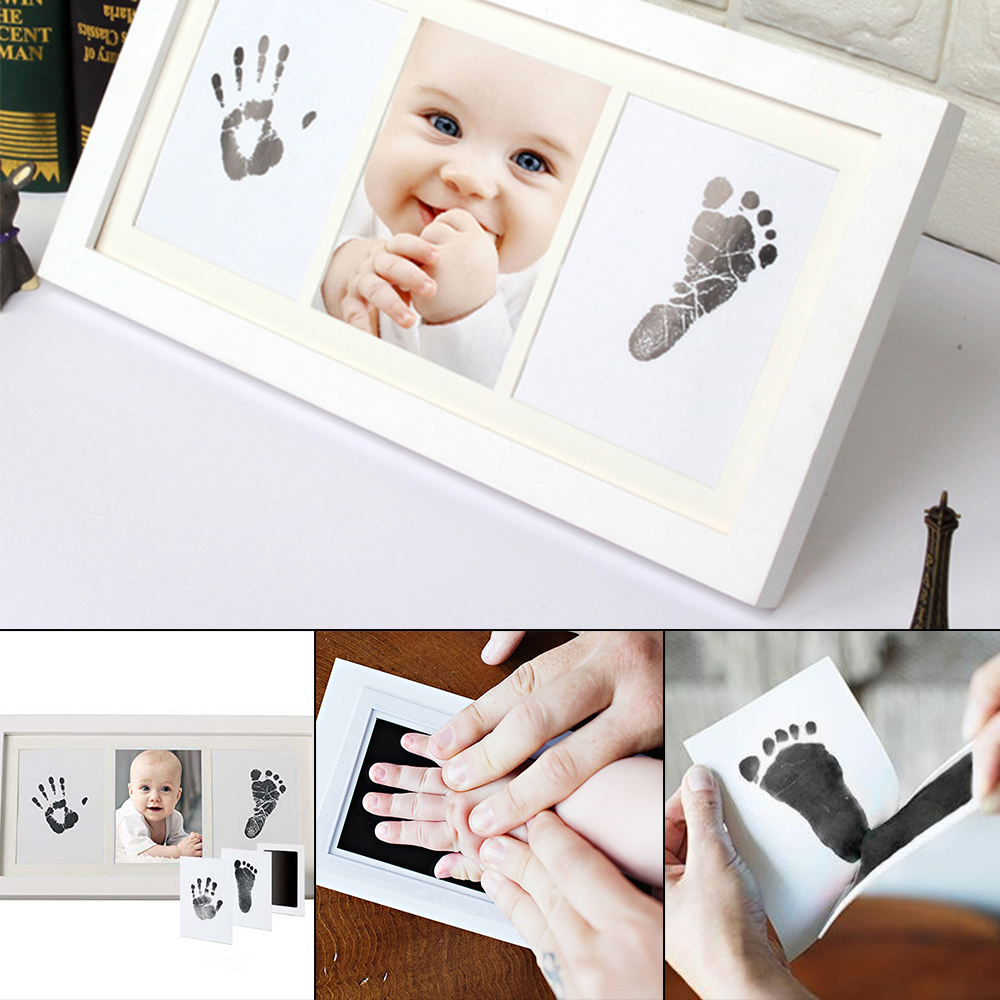 Newborn Baby Non-Toxic Handprint Footprint Imprint Frame Kit Non-Toxic Clean Touch Ink Pad Baby Items Souvenir  Infant Clay Toy