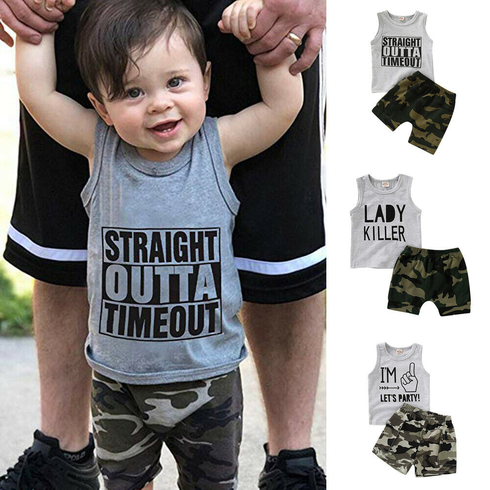 US Summer Baby Toddler Kids Boy Clothes Sleeveless T-shirt Tops Pants Outfits
