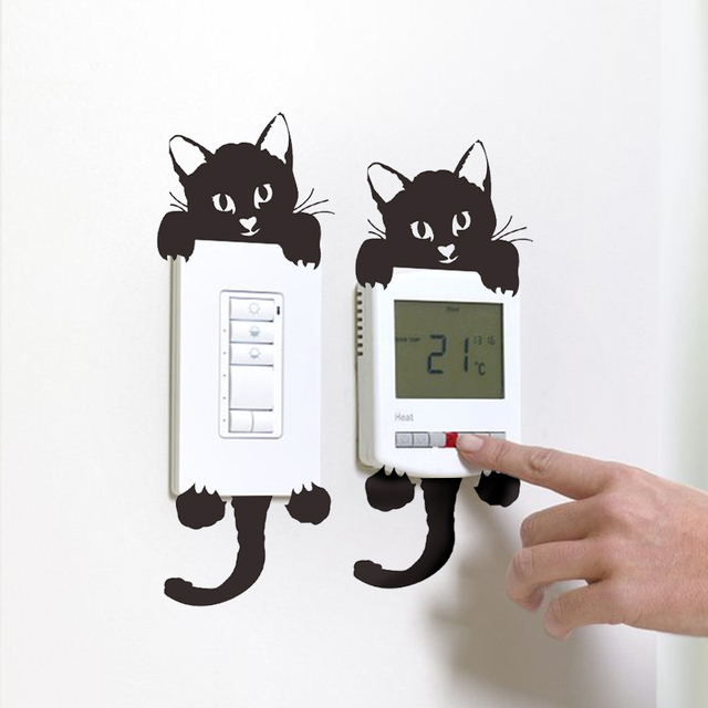 CARRYWON Wall Sticker DIY Cute Cat Switch Stickers for Kids Rooms PVC Wallpaper for Living Room Room Decoration Wall Decor