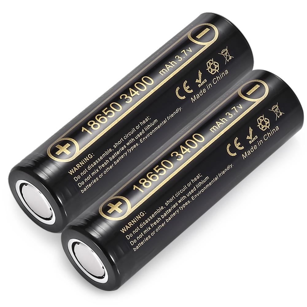 2 pcs HK LiitoKala Lii-34A 3.7 V 18650 3400 mah batterie pour NCR18650B 34B Rechargeable Batterie pour lampe de poche/torches/lampe