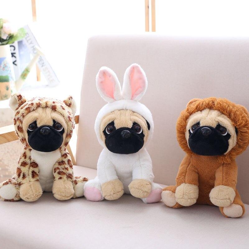Juguete de peluche Pug animal lindo muñeco de peluche suave perro cosplay dinosaurio elefante niños juguetes cumpleaños regalo de Navidad para niños