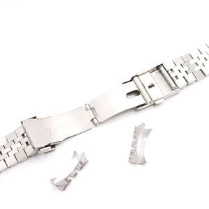 Image 5 - CARLYWET 22mm Hollow Curved End Solid Screw Links Stainless Steel Silver Watch Band VINTAGE Jubilee Bracelet Double Push Clasp