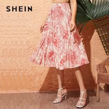 SHEIN Landscape Print Swing Pleated Skirt Spring Summer Women Boho High Waist Long Skirt Ladies A Line Elegant Midi Skirt