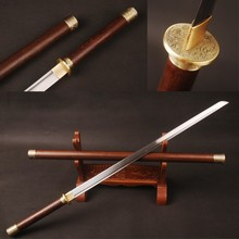 Rosewood Round Handle Chinese Sword Straight Blade Folded Steel Knife Vintage Home Decoration FCG0037B