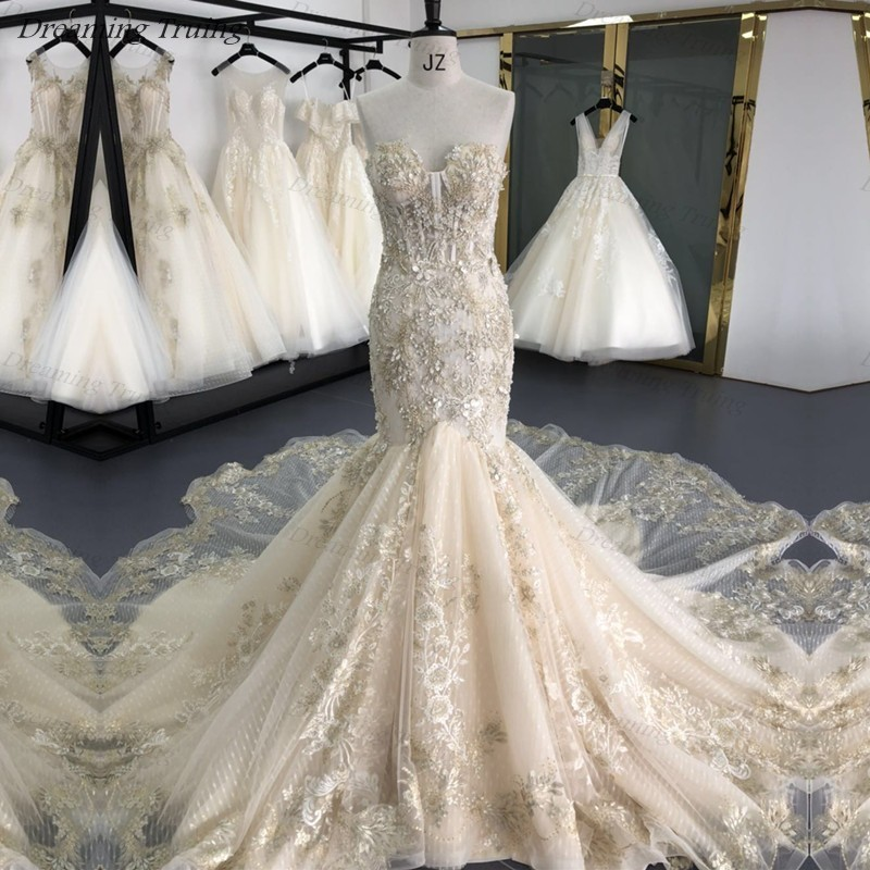 Glitter Champagne Mermaid Off The Shoulder Wedding Dresses Real Photos 3D Flowers Full Beaded Long Train Bride Gown Robe Mariage