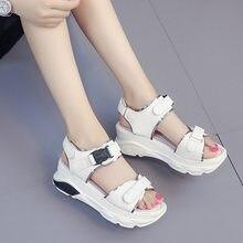 4a0d968f96 2018 nova grosso-sola das sandálias das mulheres moda cor sólida simples  sapatos estilo Romano