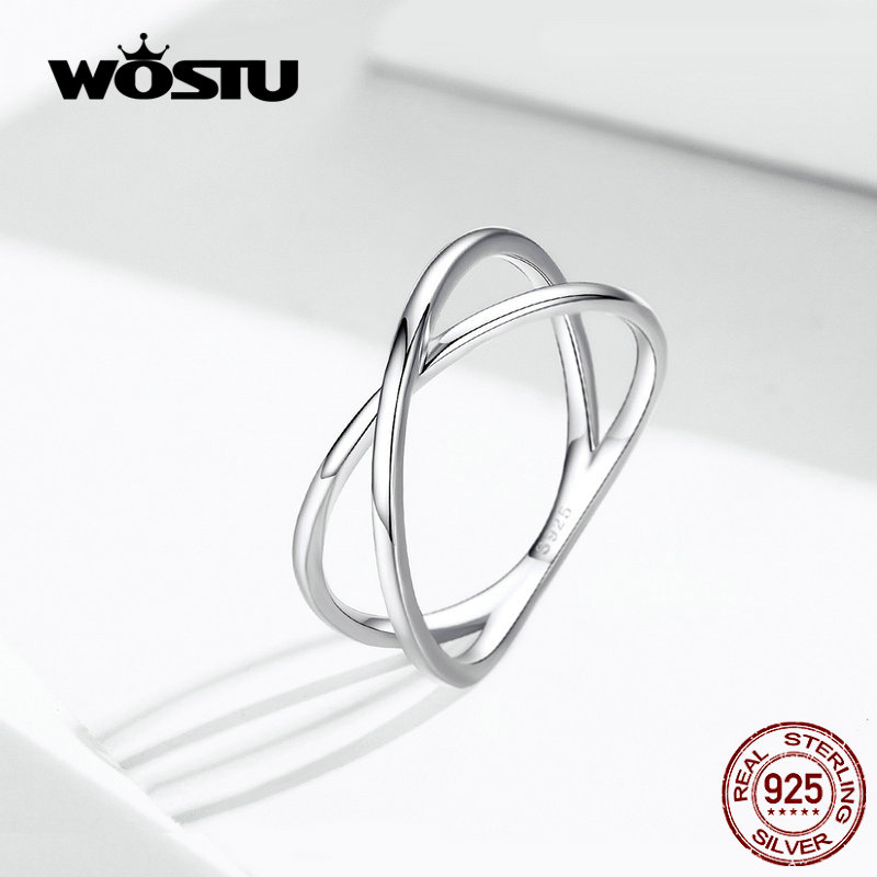 WOSTU 100% 925 Stelring Silver Interweaving Double Layer Circle Rings For Women Wedding Finger Party Fashion Jewelry FIR543