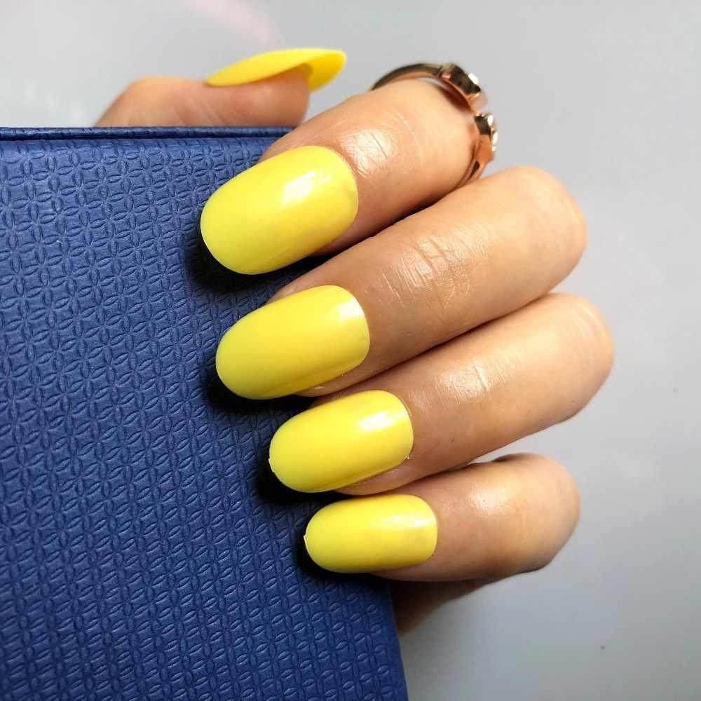 SARı Yuvarlak Doğal Yanlış Nails Glitter fransız tırnak Kısa Yuvarlak Boyutu Manikür İpuçları 24 adet #19