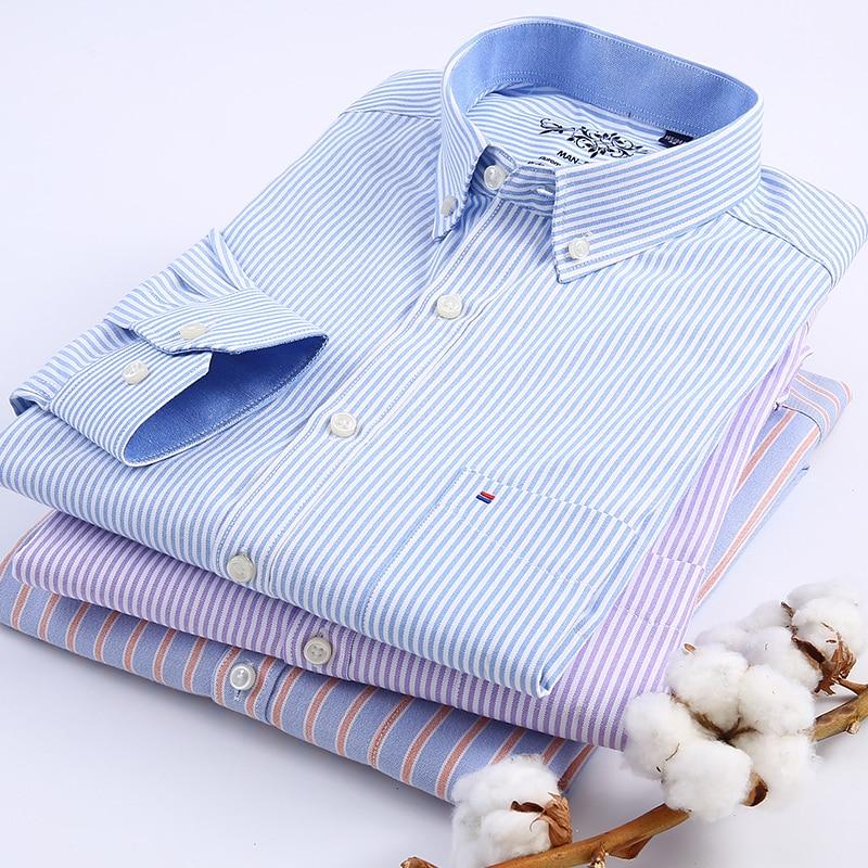 Kemeja kotak-kotak lengan panjang / bergaris-garis Oxford Dress - Pakaian Pria - Foto 4