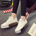 COOTELILI 35-39 Mujeres del Resorte Pisos Zapatos de Punta Cuadrada Plana Plataformas Zapatos Oxford Casual Solid Lace-Up Preppt Mocasines de estilo