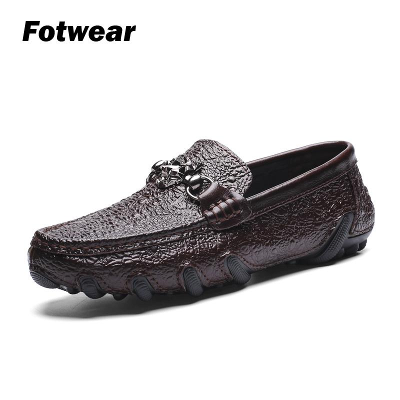 Loafer Men Genuine-Leather Traction Rubber Casual-Shoes Outsole Club with And Great Octopus-Like