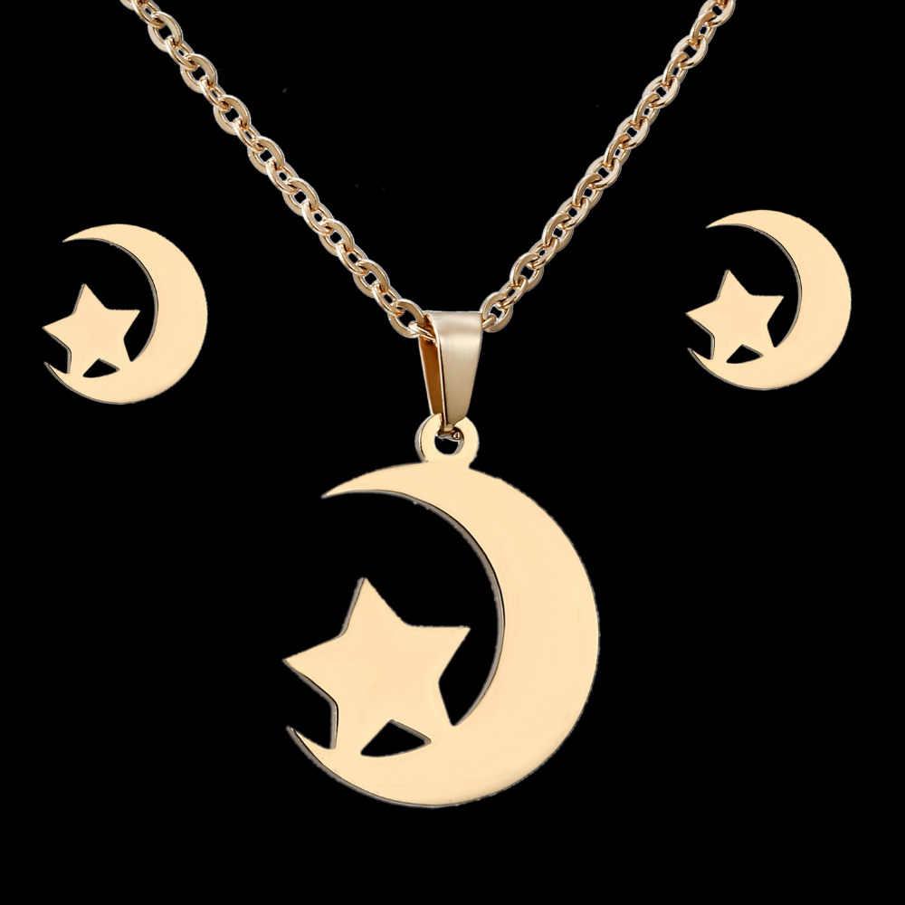 Rinhoo zestawy biżuterii ze stali nierdzewnej dla kobiet okrągła cyrkonia sześcienna zwierząt kot motyl księżyc serce naszyjnik kolczyki zestawy biżuterii