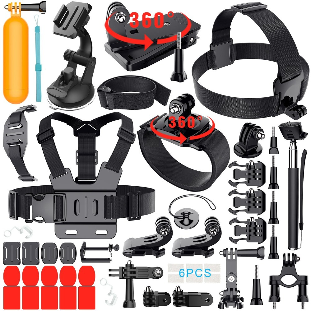 Outdoor Sports Combo 40 In 1 Action Camera Accessory Kit for GoPro Hero Session DBPOWER AKASO VicTsing APEMAN Kit 40 accessories