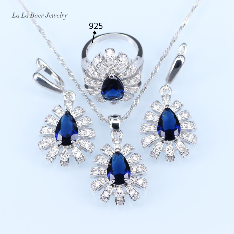 ②L & B капли воды Голубой циркон белый кристалл Для женщин ...