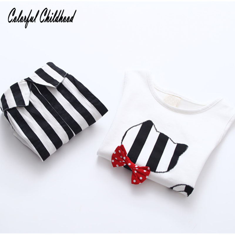 Colorful Childhood Summer New Baby Girl Sets 2PCS Striped Cute Cats T-shirt+Shorts Children Clothing Kids Clothes 2-10 Yrs